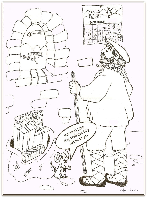 Dibujos De Navidad Del Olentzero.Pin En Olentzero Eta Mari Domingi