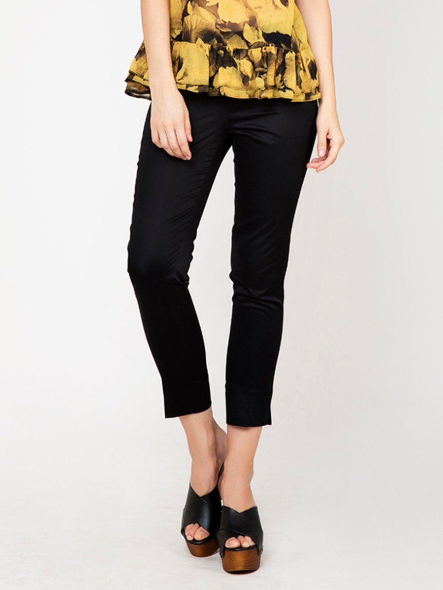#AdoreWe #StyleWe Skinny Leg Pants - Designer Conquista Black Simple Cotton-blend Solid Slit Skinny Leg Pants - AdoreWe.com