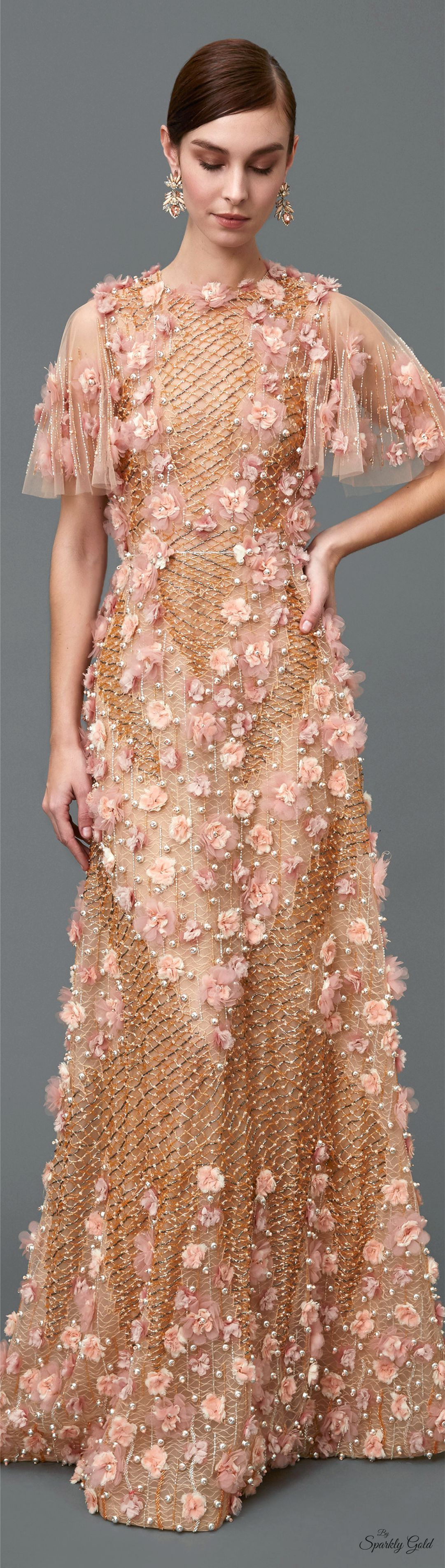 Marchesa Pre F-16: sheer floral gown. women fashion outfit clothing style apparel @roressclothes closet ideas