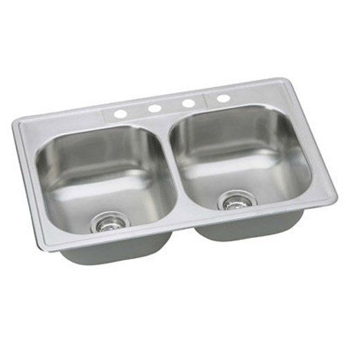 "Proflo PFSR332284 33"" Double Basin Drop-In Stainless Steel Kitchen Sink with Sou Stainless Steel Fixture Kitchen Sink Stainless Steel"