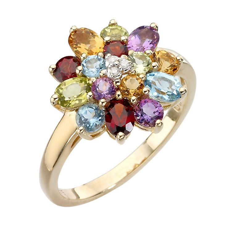 9ct gold diamond and multi coloured stones ring in 2019 ...