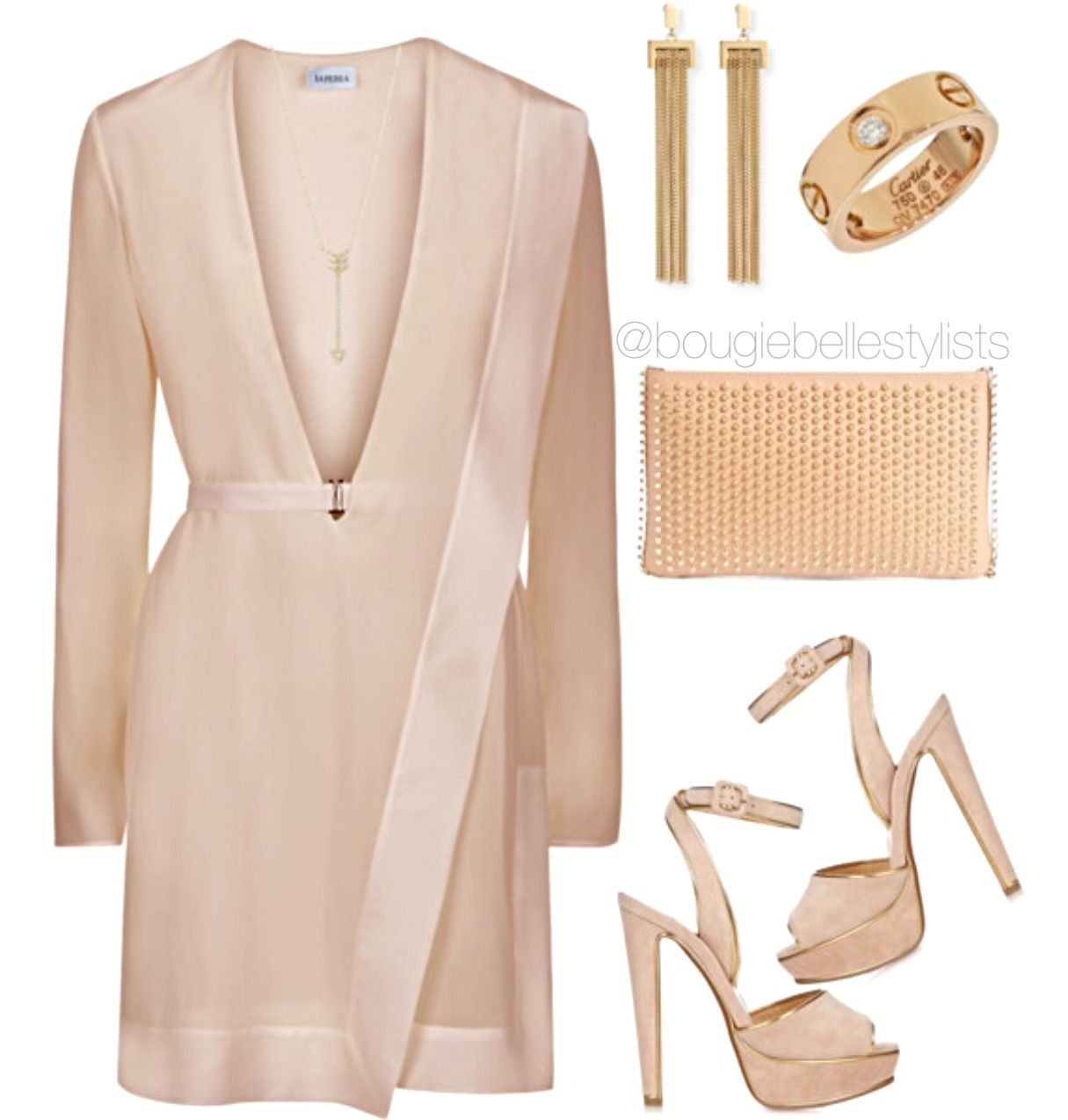 Contemporary elegant style for various Holiday Social. A subtle, understated signature appeal, emphasizing the delicate feminine attributes, to a refreshing option of the Little Black Dress. Therefore, allowing the gold accessories to accent the contrast of soft nude hues which are perfect on all skin tones. #shopthelook #bougiebelle #askforanji #laperla #cartier #chloe #christianlouboutin #efcollection