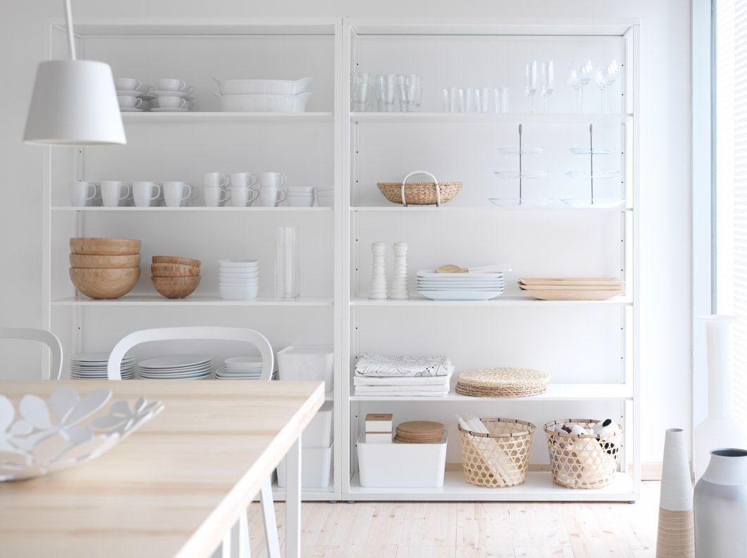 Estanter a fj lkinge de acero blanca con baldas regulables - Estanterias para cocinas ...