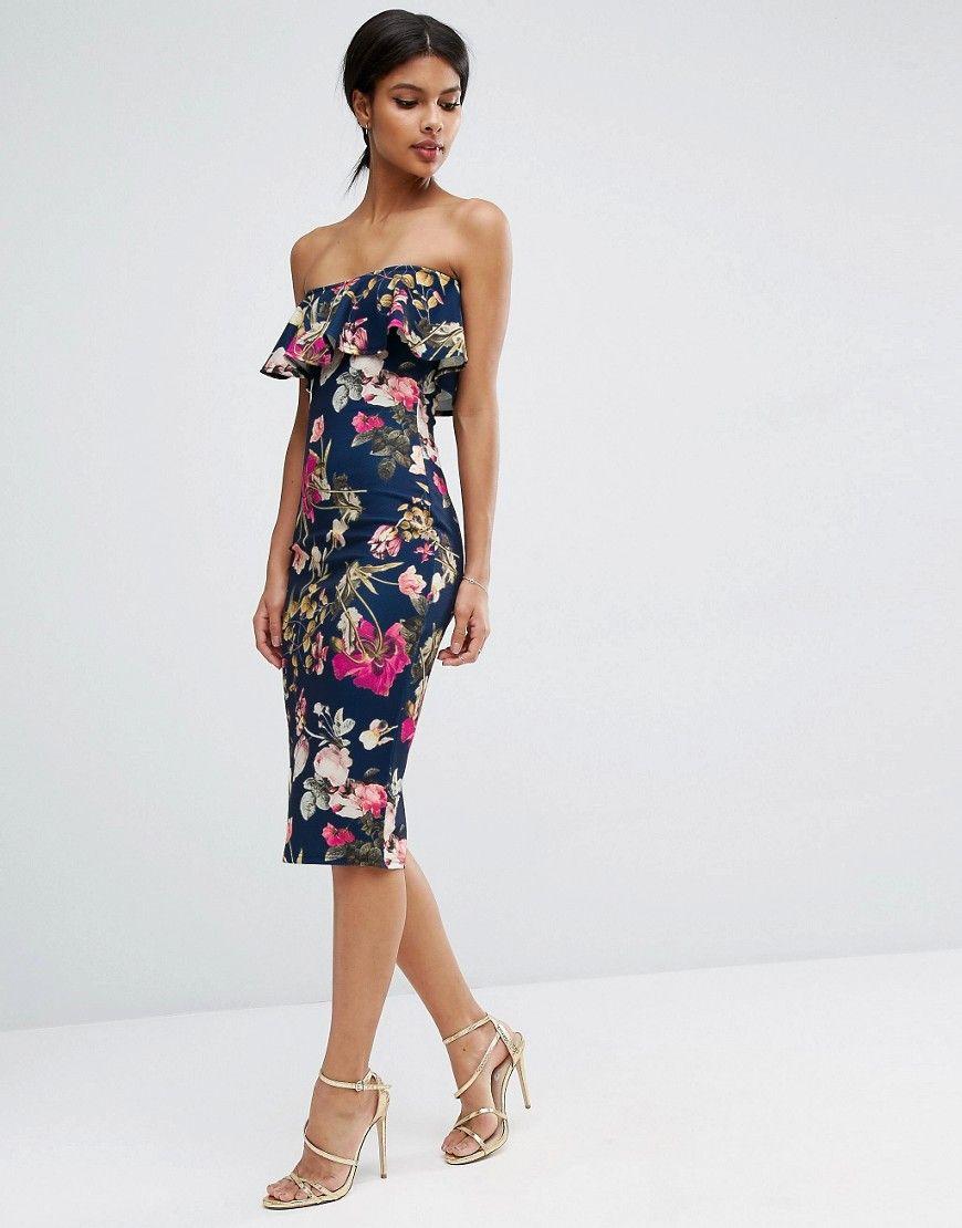 Ruffle print bandeau midi dress dresses pinterest midi dresses
