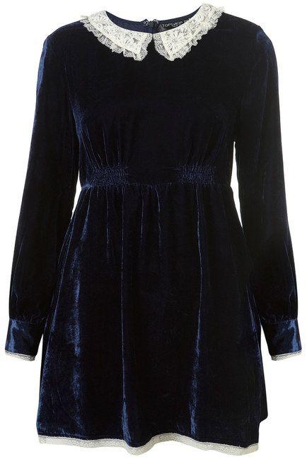 8e20dd9a1ada Topshop Navy Blue Velvet Dress White Lace Peter Pan Collar