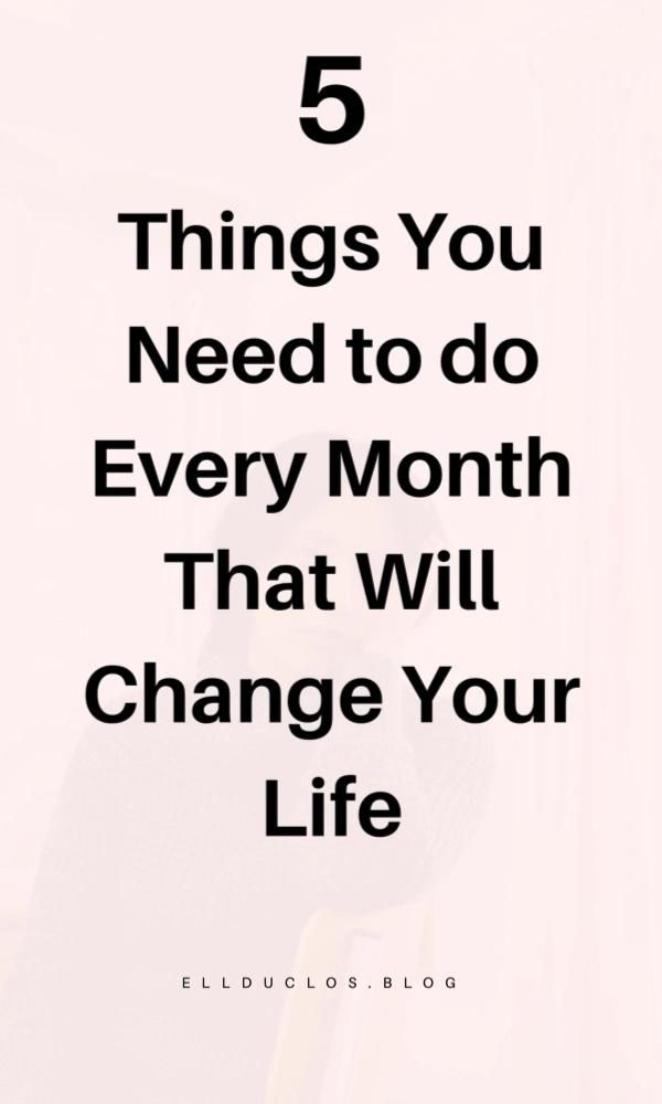 5 Things To Do At The Beginning Of Each Month - ELLDUCLOS