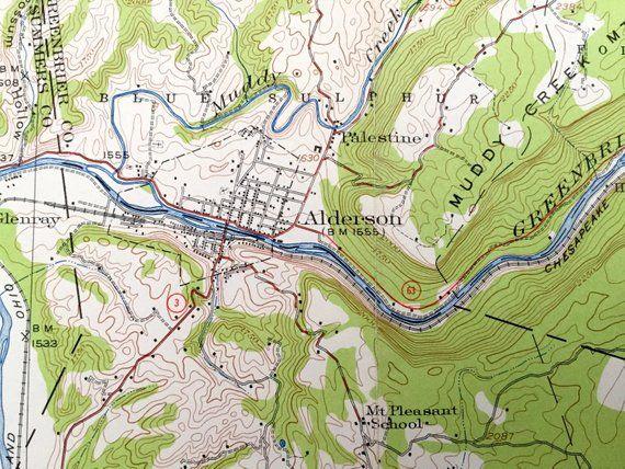 Topographic Map West Virginia.Antique Alderson West Virginia 1921 Us Geological Survey