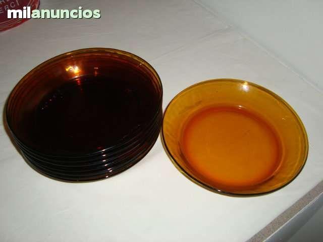 Duralex. lote de 6 platos hondos color ambar. Sin uso.Años 60. 19cm de diametro.