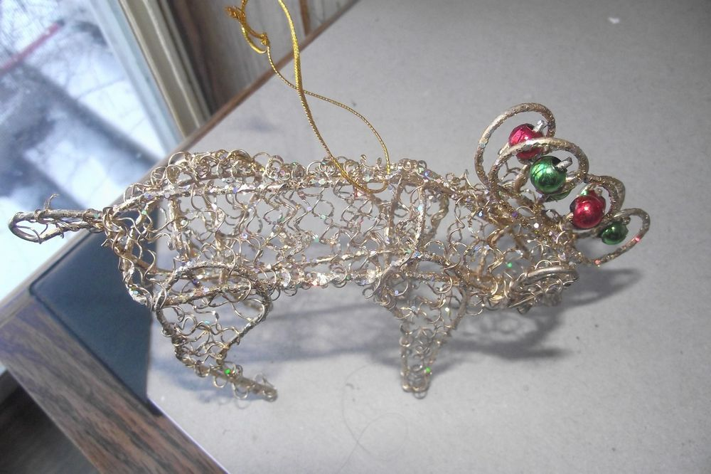 Wire reindeer christmas tree ornament gold color sparkles