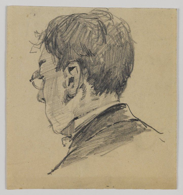 william merritt chase american 1849 1916 sketch of back of man s