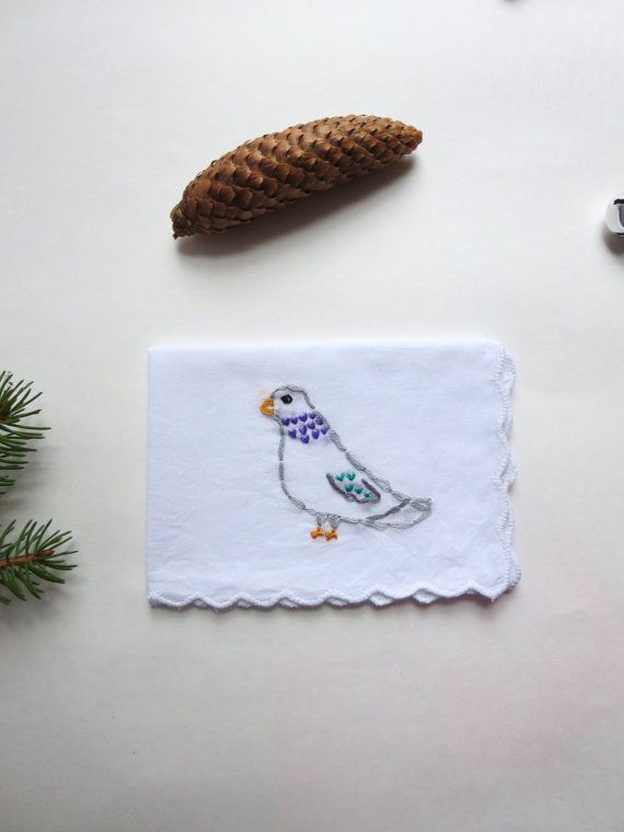 Urban Embroidery Pigeon Handkerchief Pigeon Art Funny Embroidery Bird Gift Stocking Stuffer