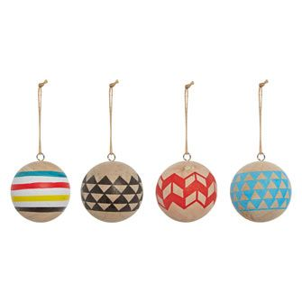 Set of 4 Wooden Printed Baubles