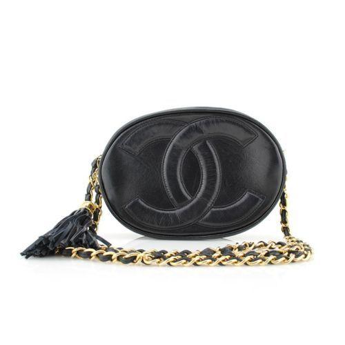 c6cc89958ddd Chanel Vintage Black Cc Logo Lambskin Oval Crossbody Shoulder Camera Bag  Tassel