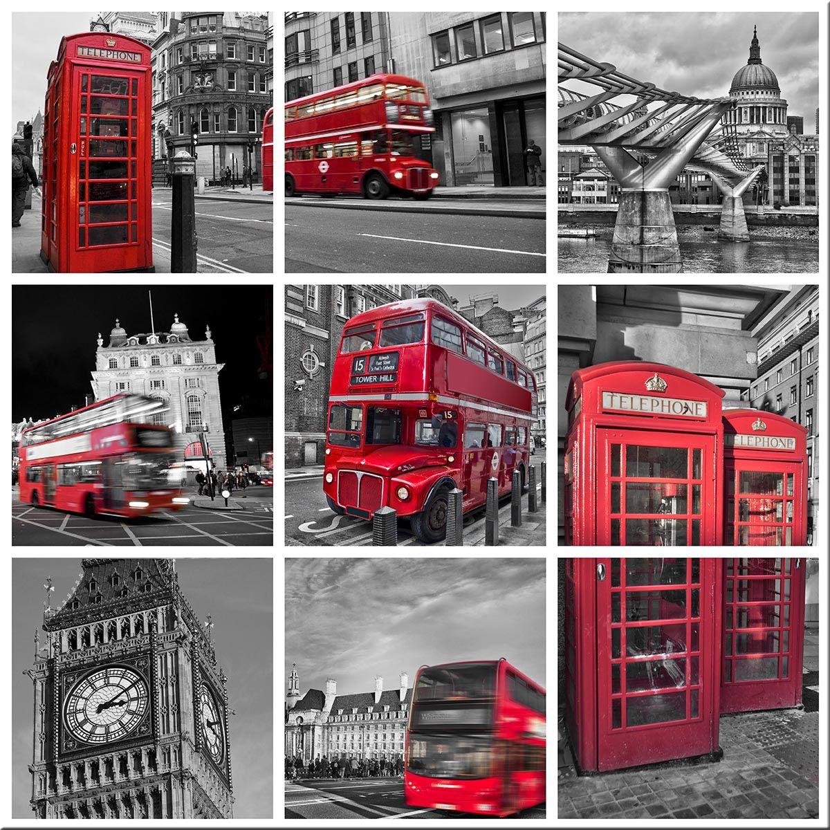 Tableau Pele Mele London Art Mural Rouge Papier Peint Photo Photo Xxl