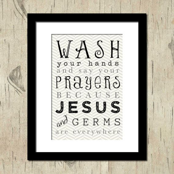 SALE - Wash your Hands Wall Art - 5 x 7 Wall Art Matted to 8 x 10 - In Stock.  Bathroom Wall Art. Typography Art. on Etsy, $9.99