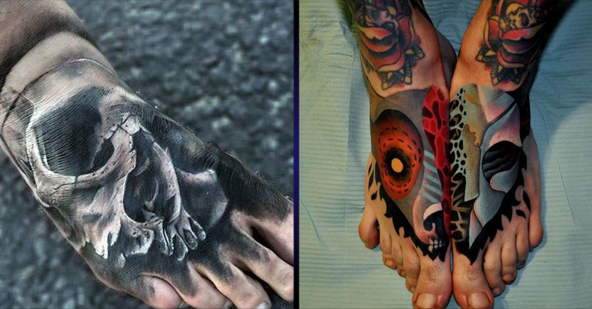 Foot Tattoos for Men -...Flower Skull Foot Tattoo | Stopy ...