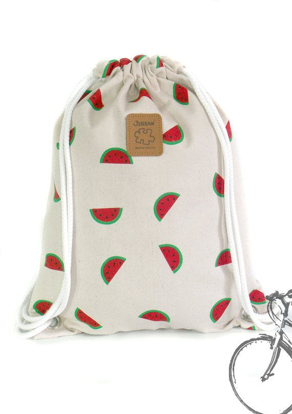 Watermelon Backpack Canvas Cotton drawstring Hip bag por YourBags ...