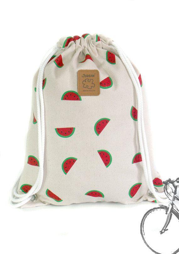 Watermelon Backpack Canvas Cotton drawstring Hip bag por YourBags ...