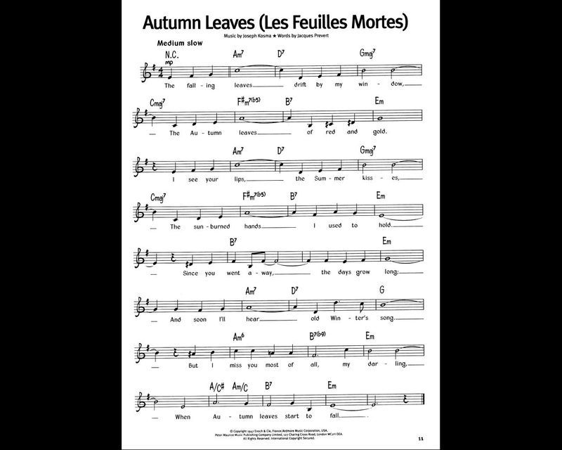 les feuilles mortes partition sheet music autumn leaves accord on du riche sheets of. Black Bedroom Furniture Sets. Home Design Ideas