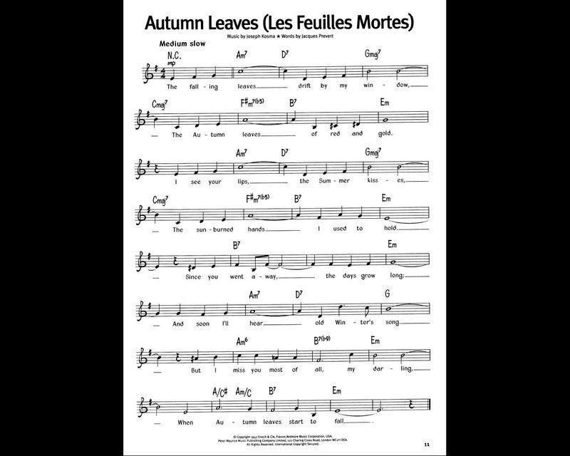 tablature les feuilles mortes