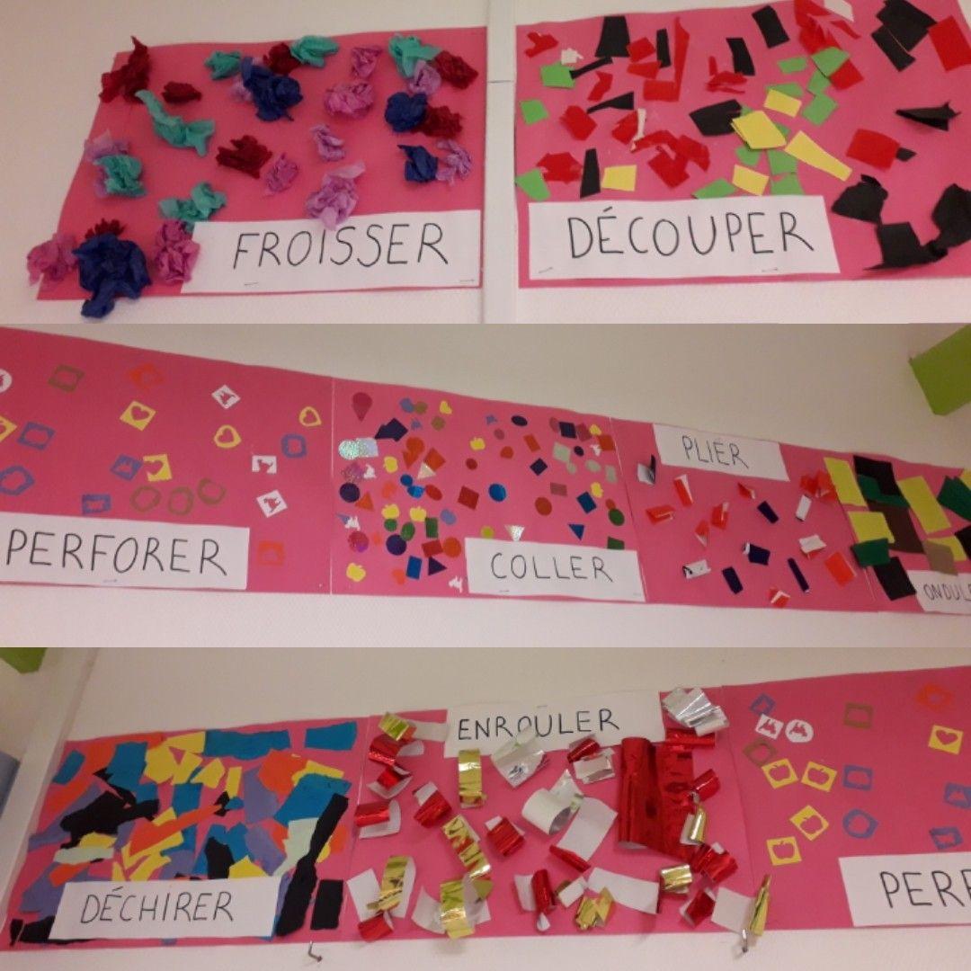 Le Papier Froisser Decouper Perforer Coller Plier Dechirer Ondulee Enrouler Activite Artistique Maternelle Activite Maternelle Maths Maternelle