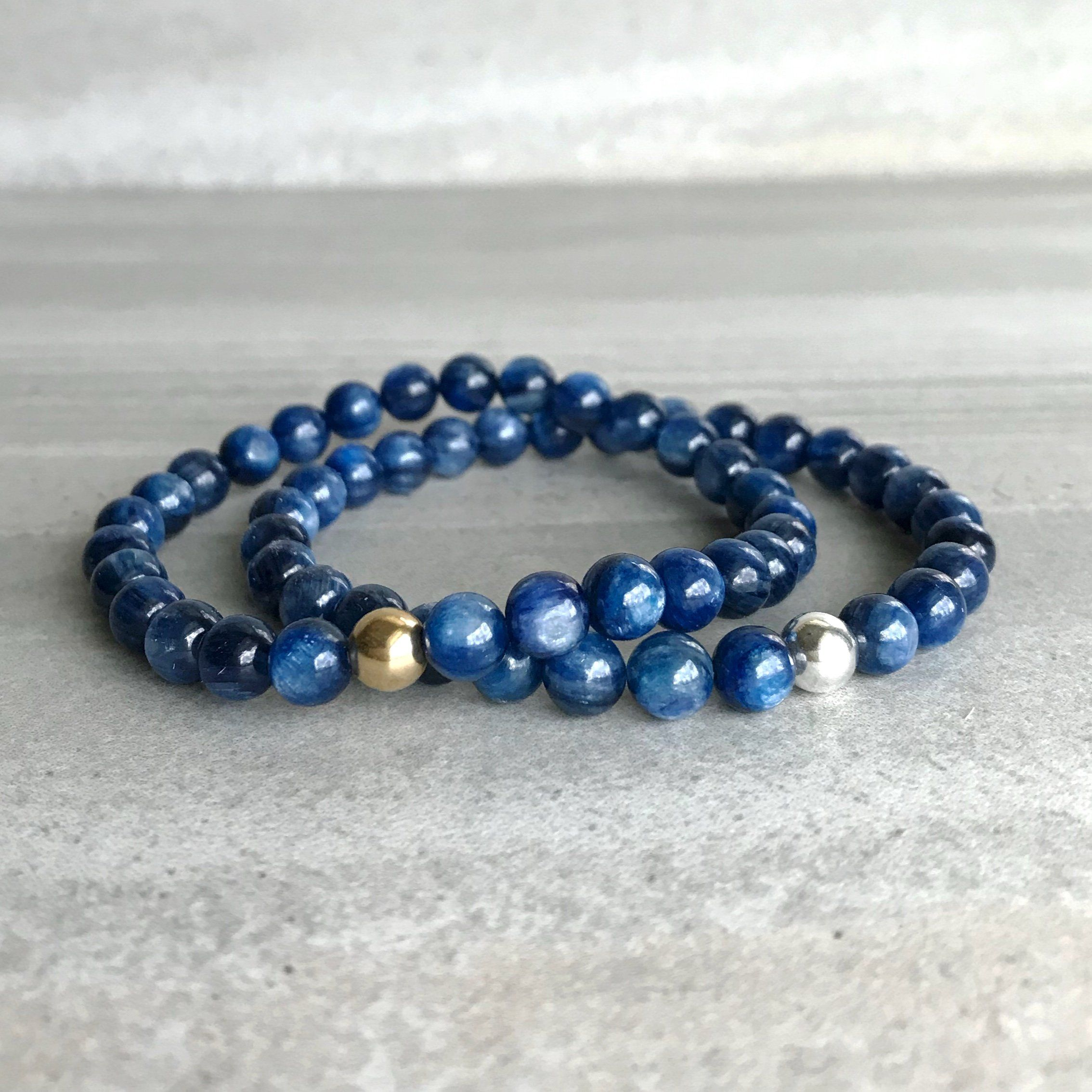 Kyanite Bracelet Genuine Blue Jewelry Silver Or Gold Bead For Women