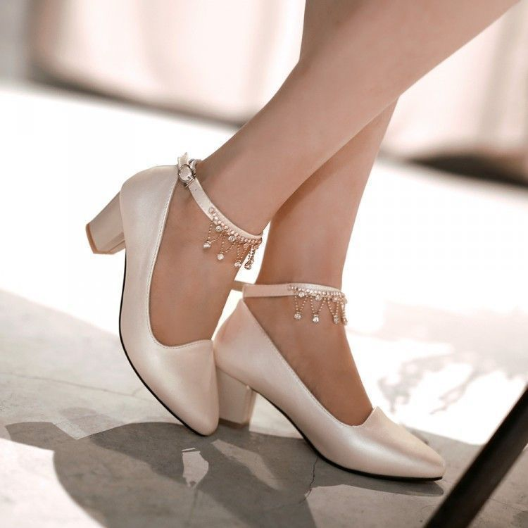 5d57f55c0ca Women Pumps Ankle Straps Low Heeled Pointed Toe Rhinestone Shoes Woman 3531   promshoeslowheeled