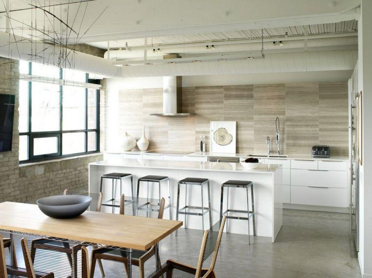 cocina moderna con isla y taburetes de acero | Decoración del Hogar ...
