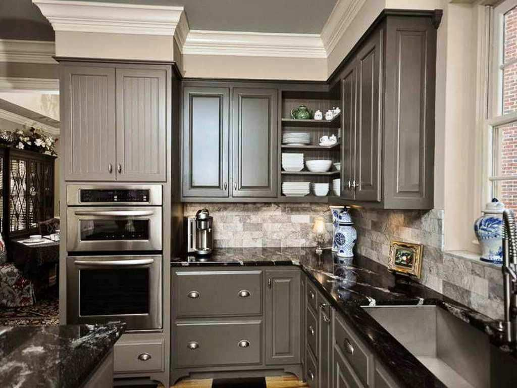 Gray Cabinets Black Counters Slate Herringbone Floor Marble Hex