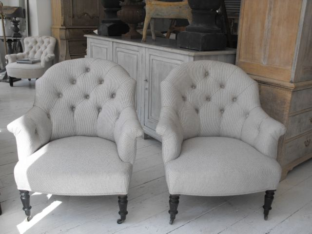 Pair Of Napoleon III Button Back Chairs In Antique Linen