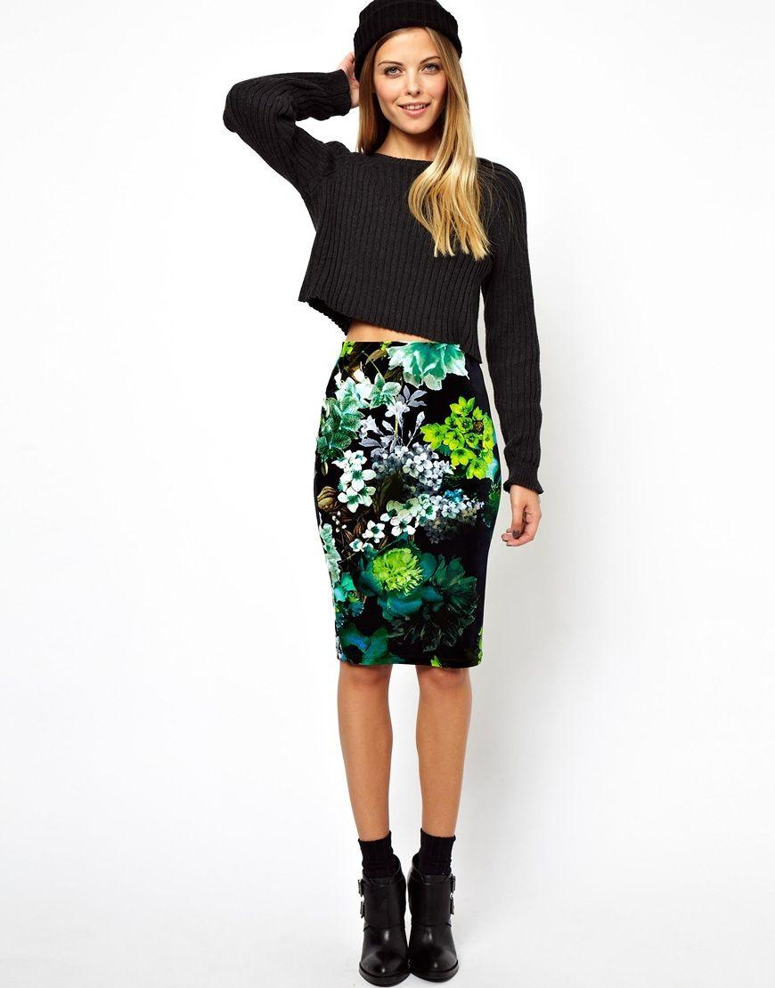 pencil skirt in velvet floral print } | { o n m y l i s t ...