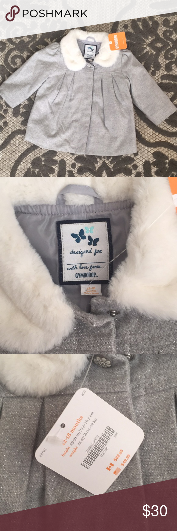 da3648c47947 NWT Gymboree 12-18 month baby girl coat gray New with tag Gymboree ...