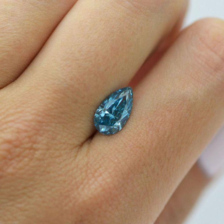 loose Diamonds : 2 Carat Pear Shape Blue Color Enhanced Loose Diamond VS2 For Engagement Ring #My