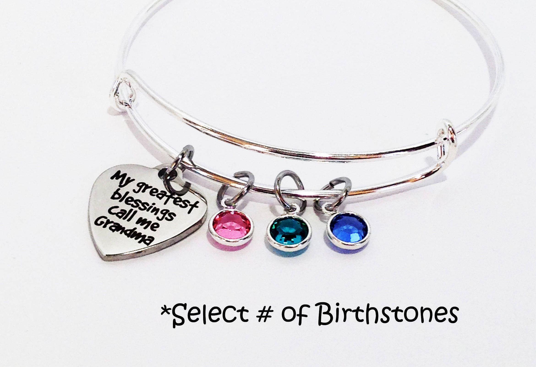Gigi Mimi Great Grandma Bracelet Mother/'s Day Gift Hand Stamped Bangle Great Grandma Jewelry Birthstone Bracelet Charm Bracelet Nana