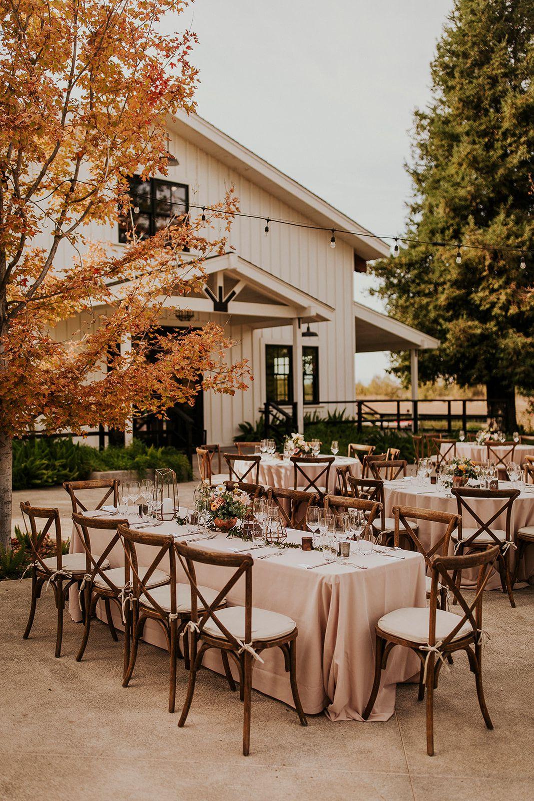 Blush Wedding Outdoor Reception Outdoor Wedding Barn