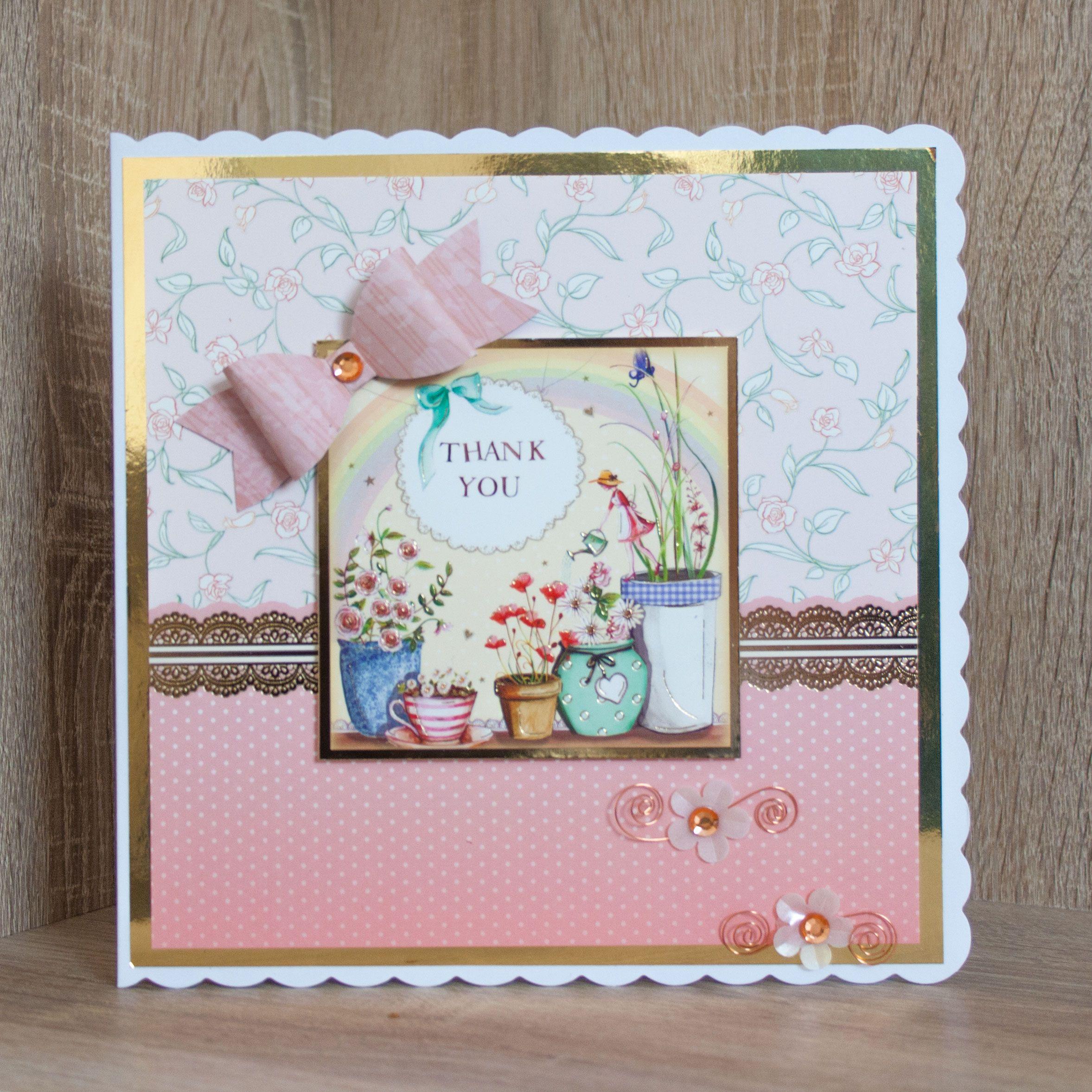 handmade thank you card made using hunkydory's thoughtful