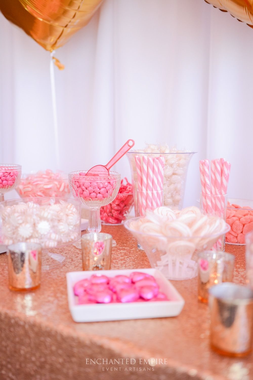 Pink and maroon wedding decor  This wedding decor was simple and chic White tablecloths with gold
