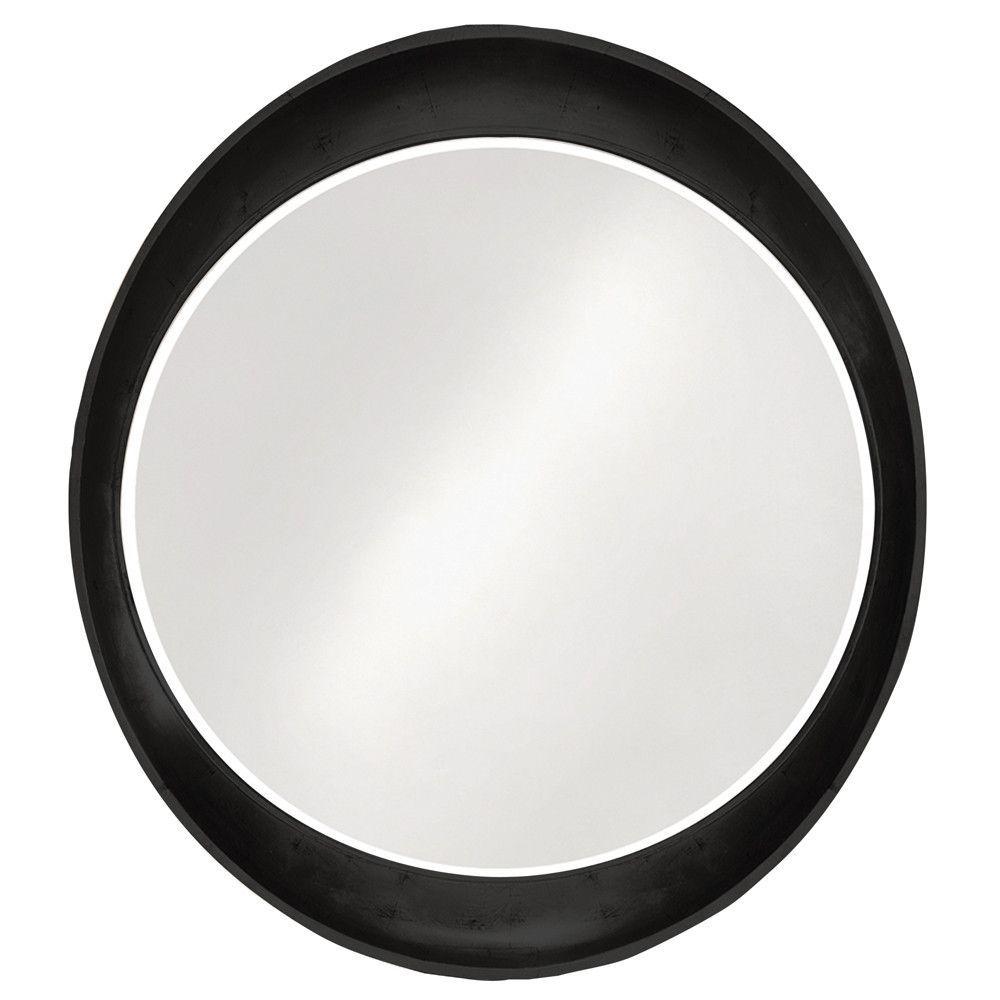 Ellipse Glossy Metallic Black Mirror
