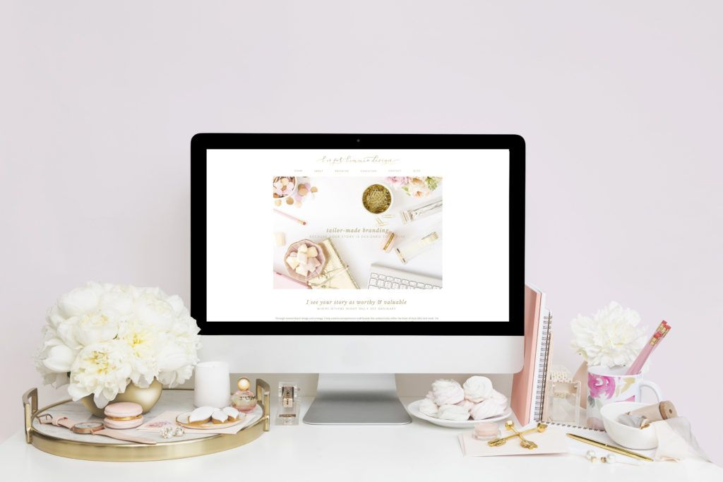 An updated look for the b is for bonnie design website!   See more of this blush, gold visual brand and custom Showit site at www.bisforbonniedesign.com
