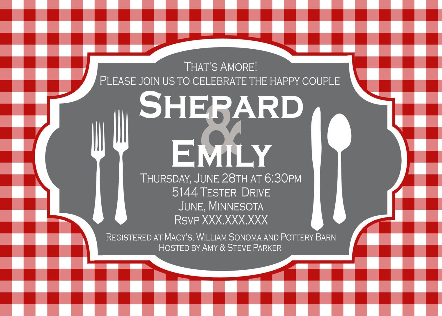 Cheveron Italian Place Setting Rehearsal Dinner Printable Party