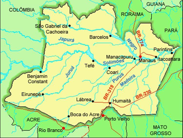 Mapa Do Estado Amazonas Rio Amazonas