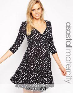 ASOS Maternity TALL NURSING Kate Wrap Skater Dress In Spot Print - Black/ off white