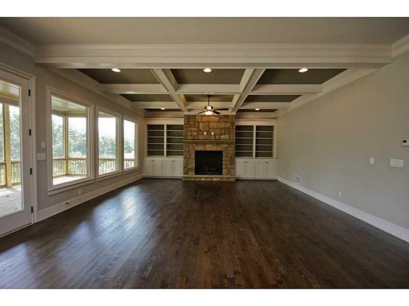 Home site 8 Family Room #Marietta #CofferedCeiling #StoneFireplace  #CofferedCeiling #WaffleCeiling, AccentHaus.com