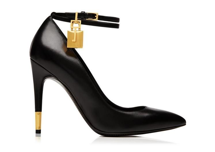 Leather Pump with Ankle Strap and Lock