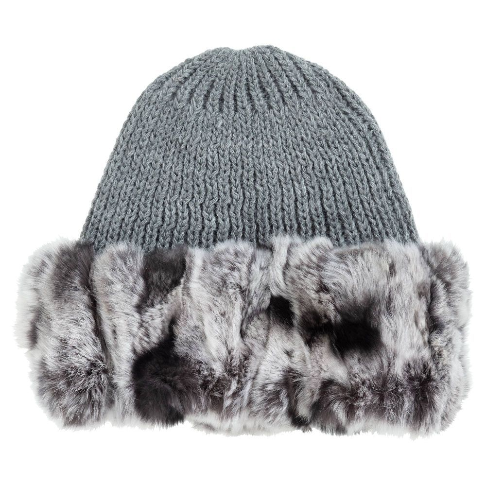 358a7893495c9 Knitted Hat with Fur Trim for Girl by Lapin House. Discover more beautiful  designer Hats