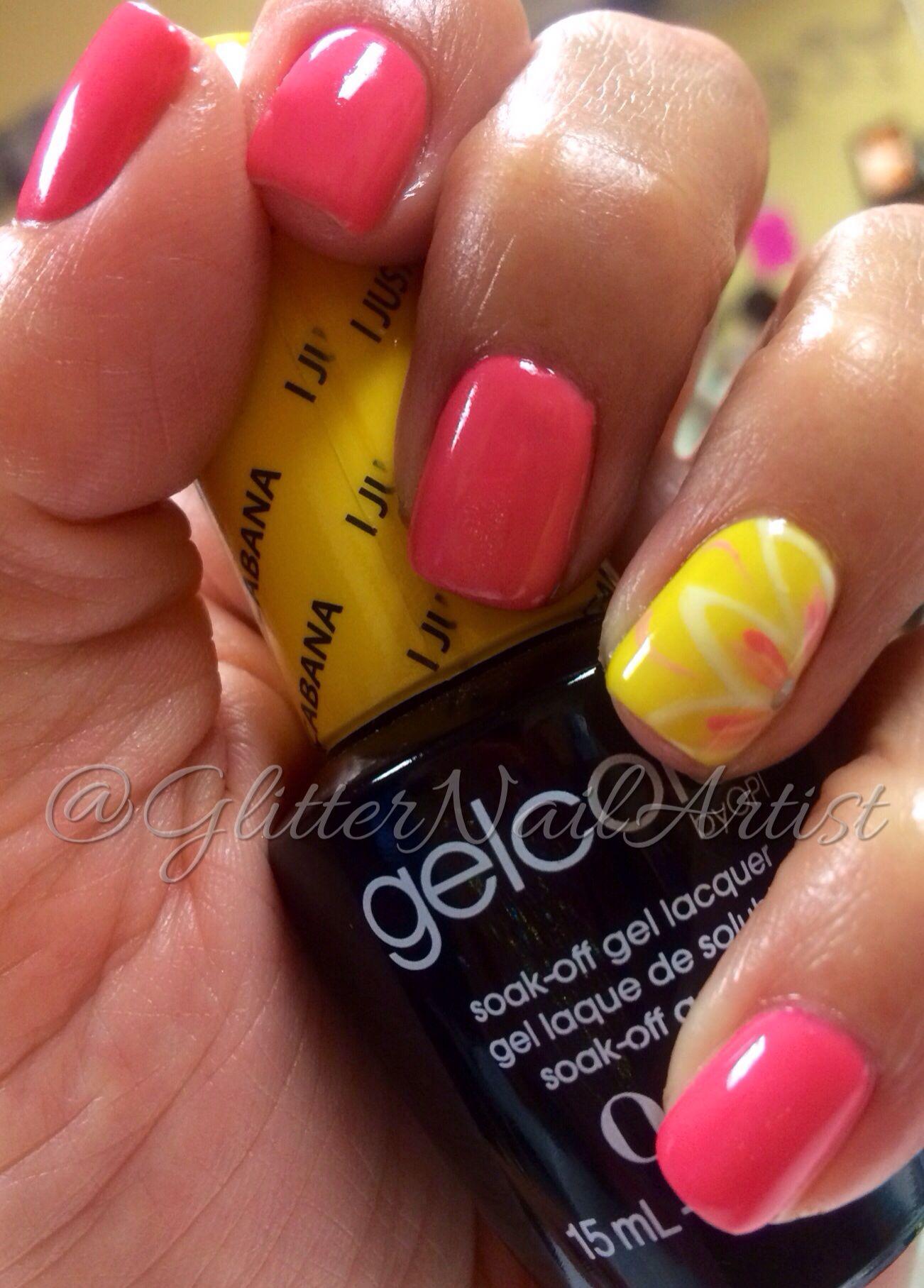 Glitternailartist Fun Summer Nails Pink And Yellow Nails Hand