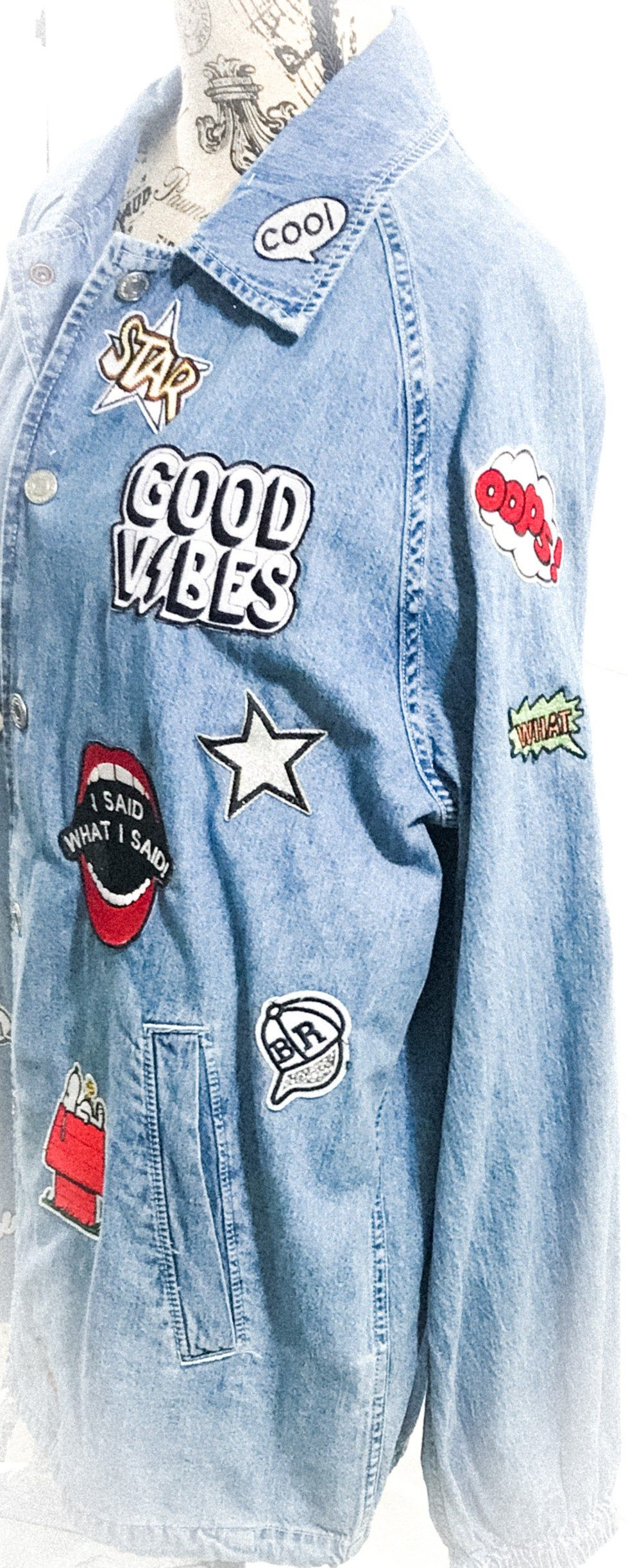 Rock Patch Jacket Rock Band Customized Jacket Coach Jacket Etsy In 2020 Diy Denim Jacket Pins On Denim Jacket Denim Jacket Patches [ 2444 x 979 Pixel ]