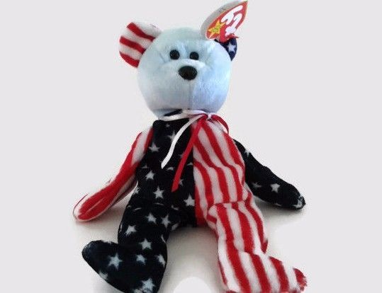 56cb7f45ffa  6.99 Free Shipping Ty Beanie Babies Spangle the American Bear Patriotic  BLUE Face Plush Toy Stuffed  Ty