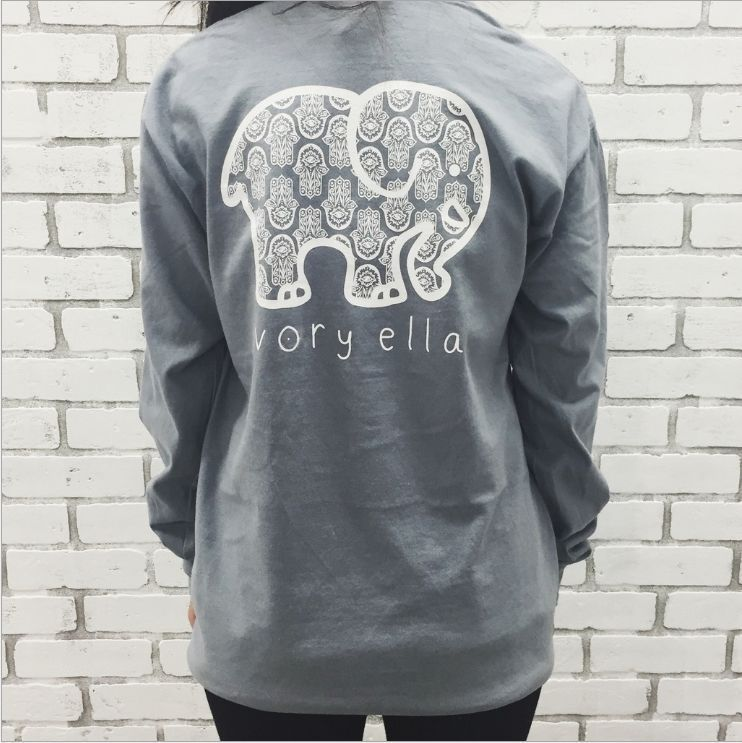 cf6eefb1ee94a6 New Women s T-shirts ivory ella Elephant Print classic soft tee Long Sleeve  Tops