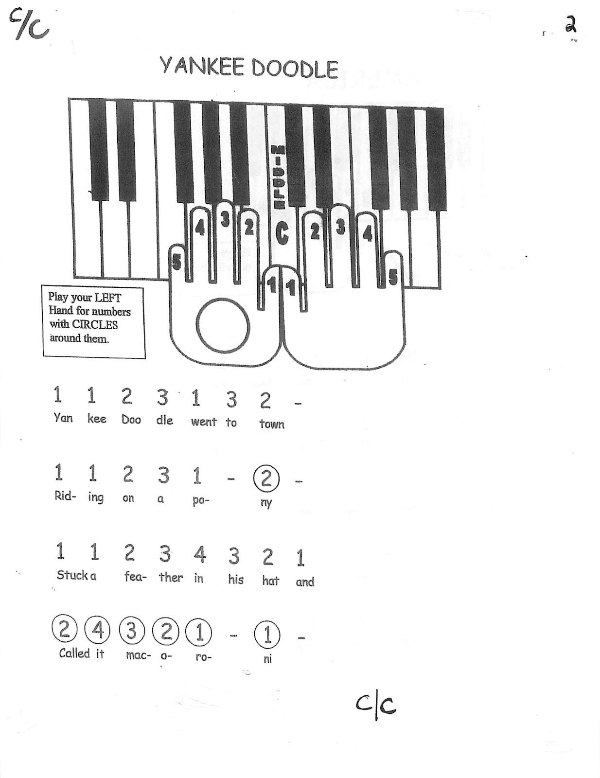 Miss Jacobson S Music Easy Keyboard 1 Melody Songs By Frame And Finger Number 1
